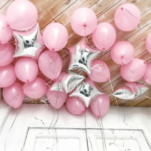 Розовые шары и звезды