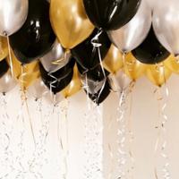 Золотые, черные и серебристые шары - 25 шт