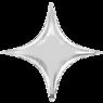 Фольгированная звезда 4х-конечная Серебряная