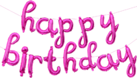 "Розовая надпись из шаров ""Happy Birthday"""