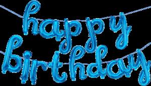 """Синяя надпись из шаров """"Happy Birthday"""""""