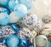 Голубые, белые шары, синие и серебристые шары-хром + шары с конфетти - 25 шт