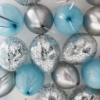 Голубые шары, шары с конфетти и шары-хром - 25 шт
