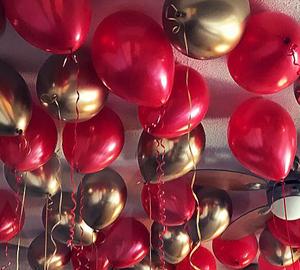 Красные шарики и золотые хром - 25 шт
