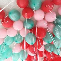 Мятные, розовые и красные шары - 25 шт