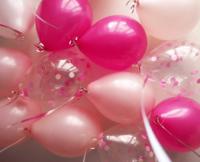 Нежно-розовые, фуксия и шарики с конфетти - 25 шт