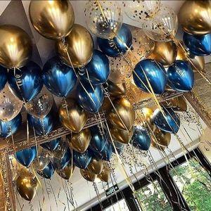 Шары - хром синие и золотые + шары с конфетти - 25 шт