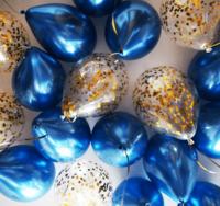 Синие шары-хром и шары с конфетти - 25 шт