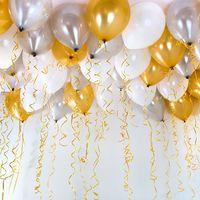 Золотые, серебристые и белые шары - 25 шт